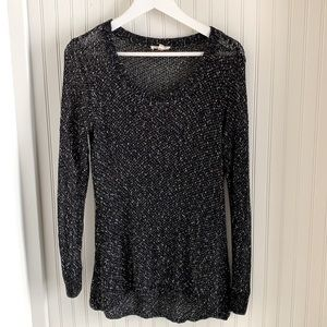 Eileen Fisher High-Low Black Knit Tunic top